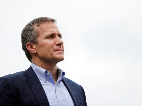 Missouri Gov. Eric Greitens waits to deliver remarks