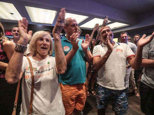 Applause goes up at the No on Measure C election night party at the Palm Springs Hilton after the latest tally is read on Tuesday, June 5, 2018 in Palm Springs.