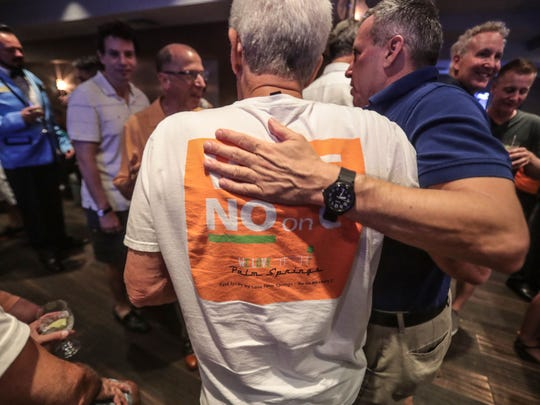 A happy scene at the No on Measure C election night party at the Palm Springs Hilton after the latest tally is read on Tuesday, June 5, 2018 in Palm Springs.