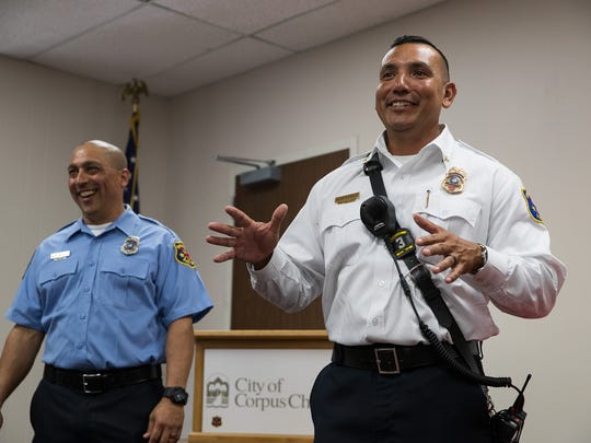 Corpus Christi Fire Battalion Chief Juan Tony Perez speaks after receiving the life-saving award during a ceremony on Wednesday, June 6, 2018.