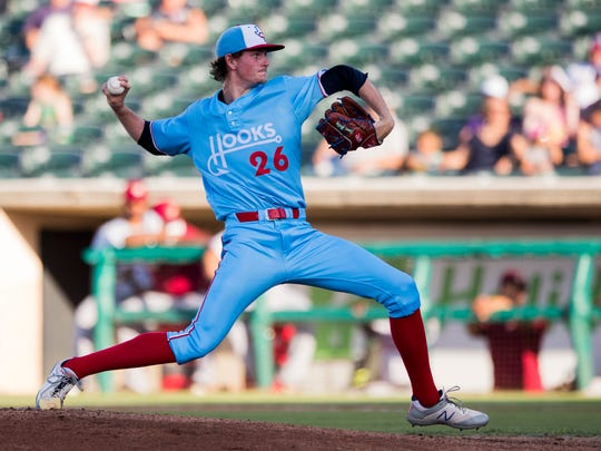 Corpus Christi Hooks' Forrest Whitley pitches against the Frisco Rough Riders on Friday June 8, 2018, at Whataburger Field.