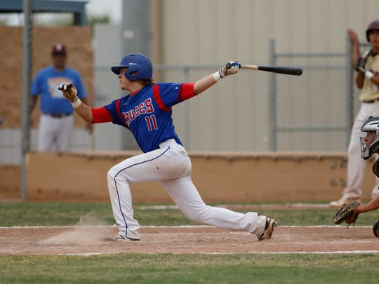 Las Cruces High's Ryan Olson takes a big swing at the ball during the 2018 North versus South Baseball All-Star Classic on Saturday at the Field of Dreams Baseball Complex.