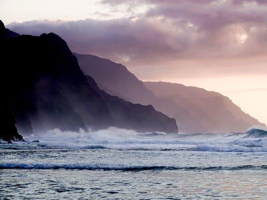 The Napali coast on the north shore of Kauai. One of