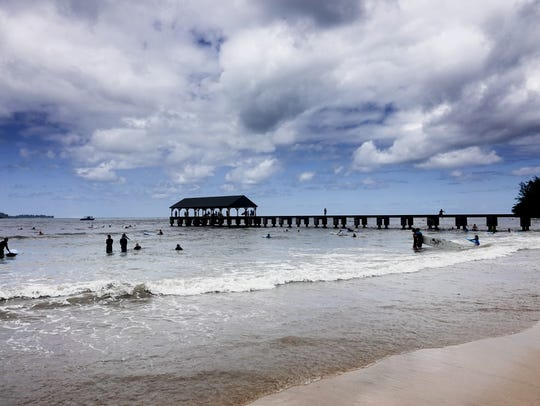 The historic Hanalei Pier is a major spot for fishing