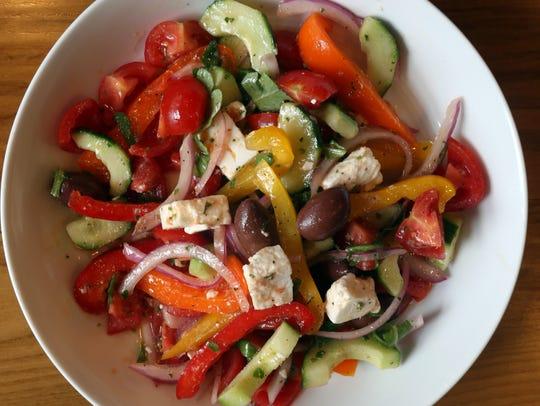 Traditional Greek Salad at Piata Greek Kitchen in Bardonia,