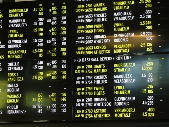 The board listing the teams and the odds.