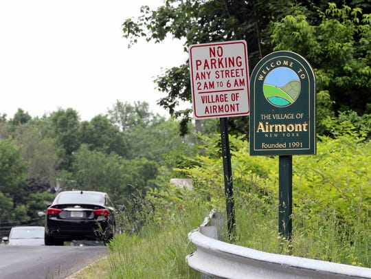 A Welcome to Airmont sign on Cherry Lane in Airmont,