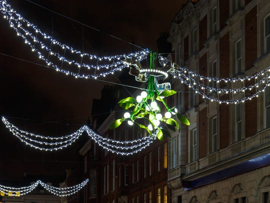 An example of festoon lighting in Covent Garden, London,