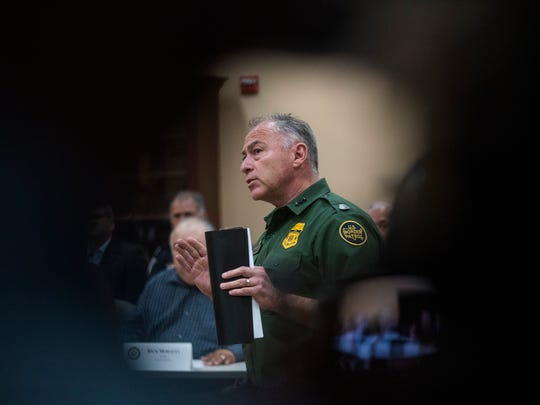 Manuel Padilla, chief of U.S. Border Patrol-RGV Sector, speaks during a round table meeting at the Border Patrol Station in Weslaco, Texas to discuss immigration policy on Friday, June 22, 2018.