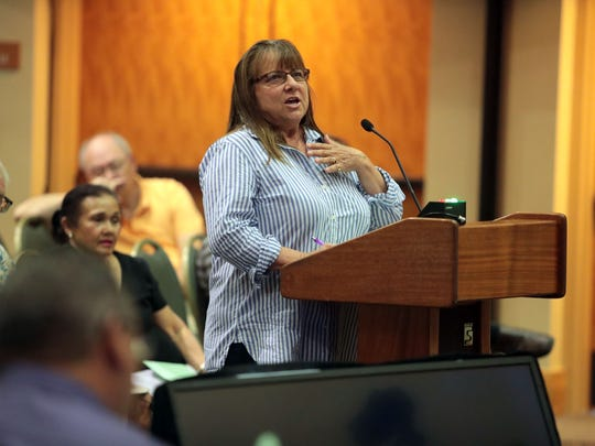 Tanya Petrovia speaks in favor of keeping retired golf courses as open space, at a Palm Springs Planning Commission meeting on Wednesday, June 27, 2018 at the Palm Springs Convention Center.