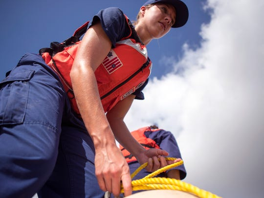 Jessica Graham, with the Coast Guard, learns how to tie a knot, while learning how to deploy 200 feet of boom in the event of an oil spill during a Natural Disaster Operational Workgroup Pollution Responder college at the Corpus Christi Area Oil Spill Control Association in the Port of Corpus Christi on Thursday, June 28, 2018. The course included several days of coursework and hands-on training that on the Coast Guard side will enable individuals to earn pollution responder qualification.