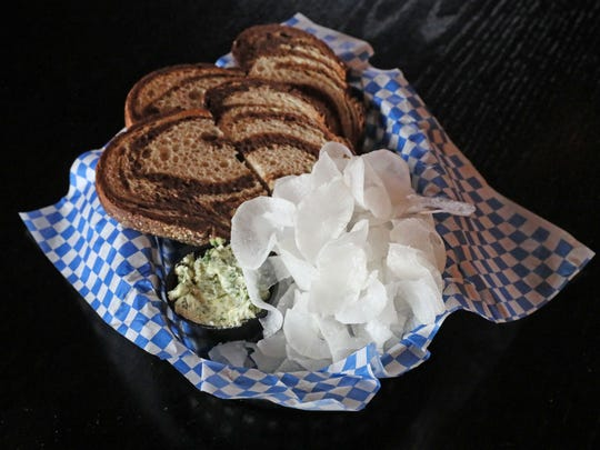 Von Trier serves a classic beer hall appetizer, radish with bread and butter.