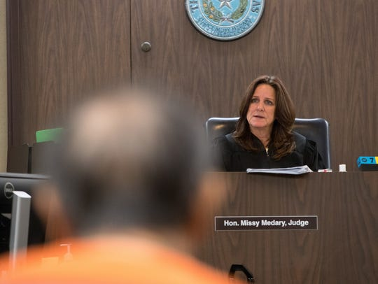Judge Missy Medary of the 347th District Court presides over a hearing on Monday, July 2, 2018. for Jaime Sandoval, a doctor accused of sexual assault.