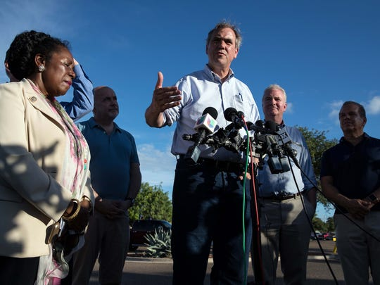 June 17, 2018; Brownsville, TX, USA; Sen. Jeff Merkley of Oregon gives a statement regarding family separation after visiting the Southwest Key Casa Padre Facility. Mandatory credit: Courtney Sacco/Caller-Times via USA TODAY NETWORK ORIG FILE ID:  20180617_pjc_usa_046.JPG