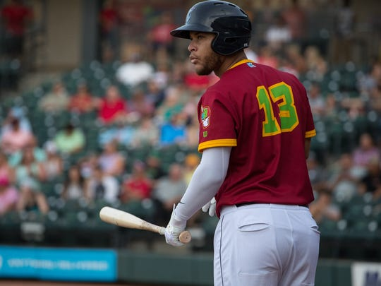 Hook's Randy Cesar steps up to bat during their game at Whataburger Field on Thursday, July 5, 2018.