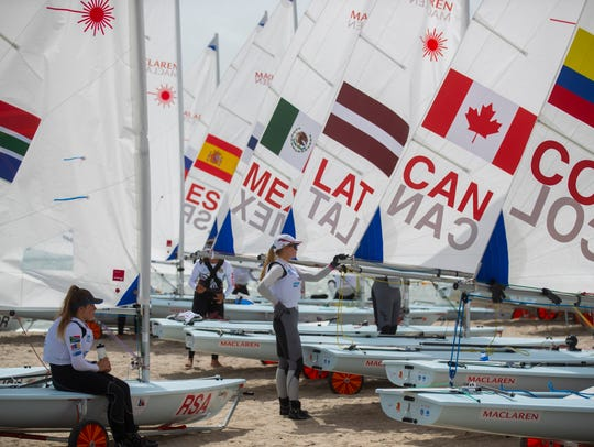 Sailors prepare for the first day of the Youth World