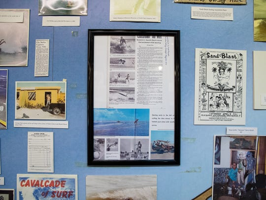 A newly place article about Charles Teas the former surf teacher at Del Mar College  in the Texas Surf Museum on  Wednesday, July 18, 2018. 