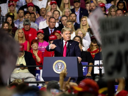President Donald Trump speaks during a rally for Florida