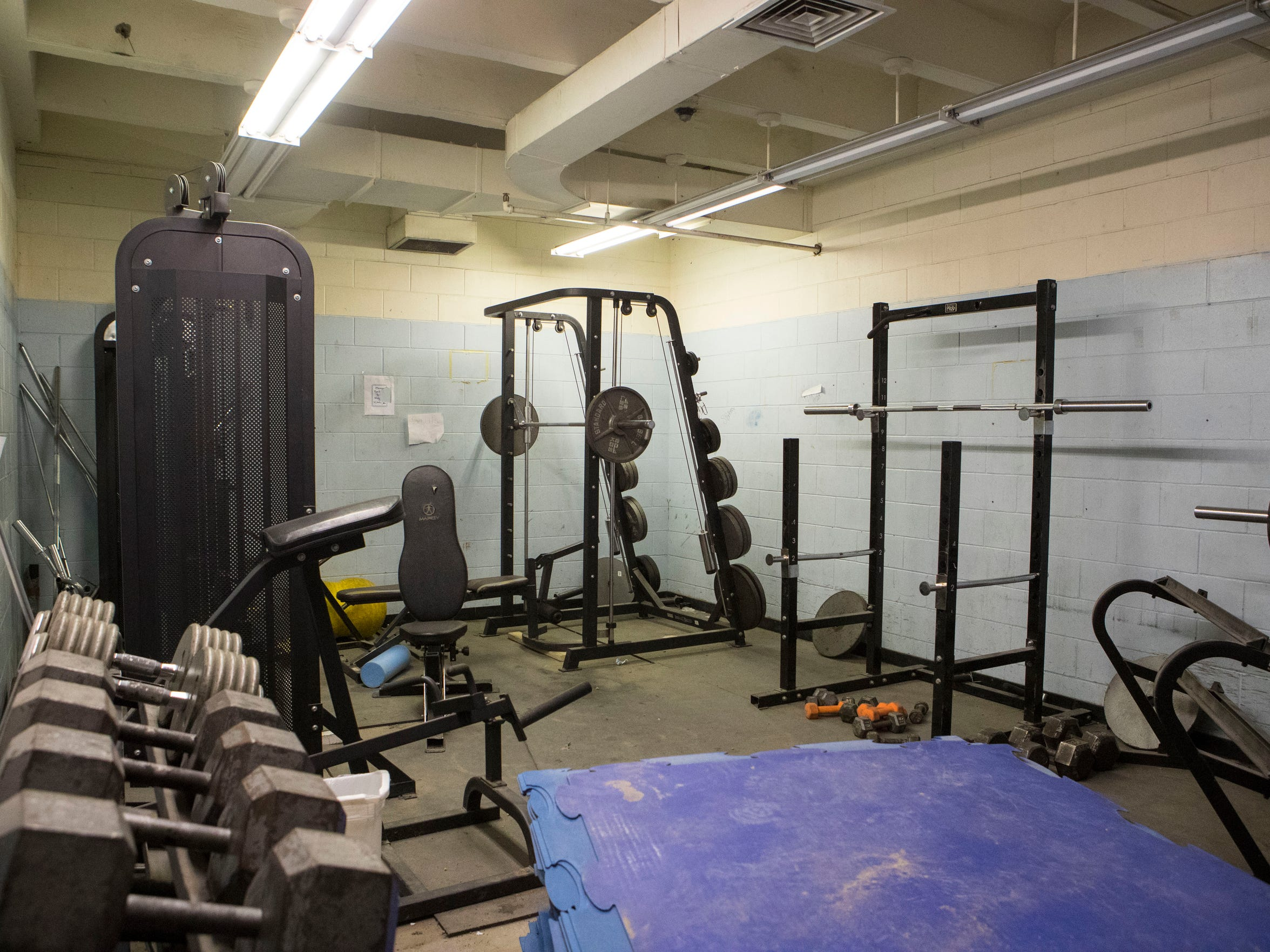 The weight room at Little Wound High School Monday,