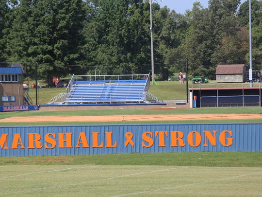 "A new sign reads ""Marshall Strong"" at Marshall County"
