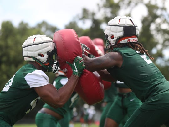 FAMU football holds a fall practice on the university's campus Friday, Aug. 3, 2018.