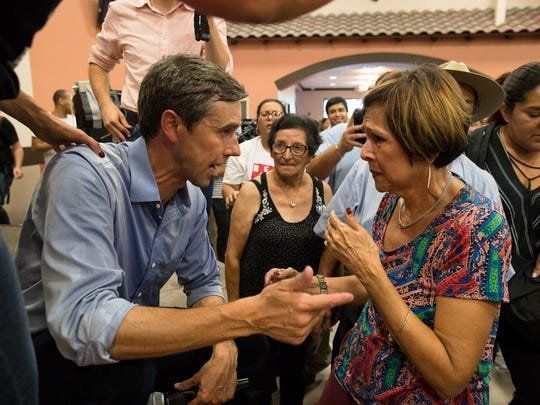 The Texas democratic candidate for Senate, Rep. Beto O'Rourke, talks to a supporter at a town hall stop at the Valencia on Wednesday, Aug. 8, 2018.