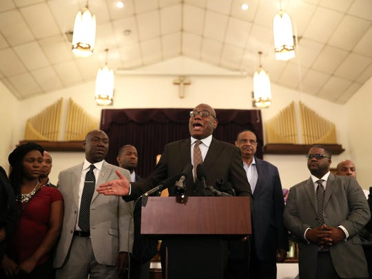"""Rev. R.B. Holmes speaks at the Bethel Baptist Church during a rally against the """"Stand your Ground"""" law Wednesday, Aug. 8, 2018."""