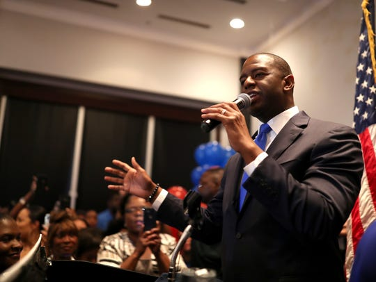 Democratic gubernatorial nominee Andrew Gillum celebrates