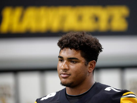 Iowa offensive tackle Tristan Wirfs is aiming to be a consensus all-American in his junior season. The Mount Vernon native certainly has the physical gifts to get there.