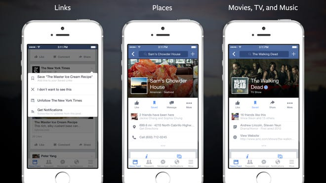 Facebook unveiled a new feature Monday that allows users to save pages into a list that can later be accessed.