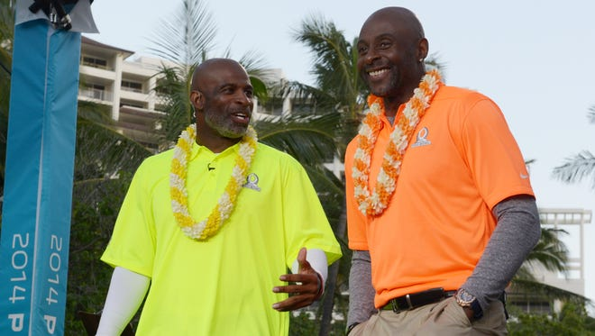 Deion Sanders (left) and Jerry Rice at the Pro Bowl draft at the J.W. Marriott Ihilani Resort & Spa.