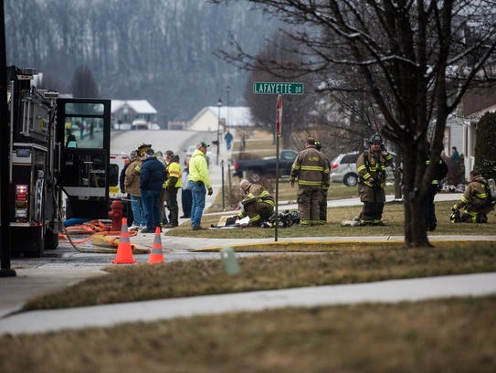 Firefighters respond to a reported explosion in a Littlestown