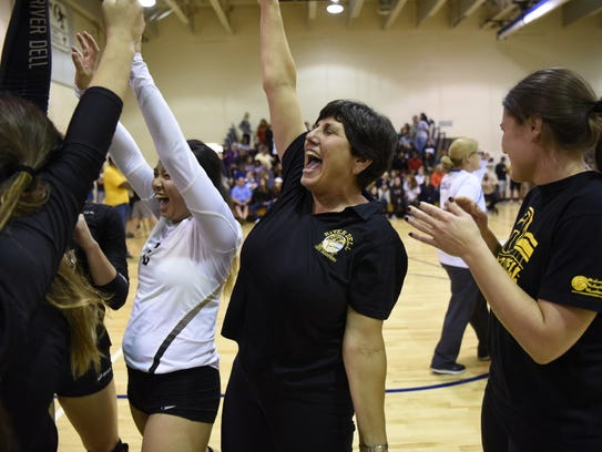 River Dell girls volleyball coach Dianne Furusawa with
