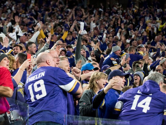 Fans react after Stefon Diggs scored a 61-yard, game-winning