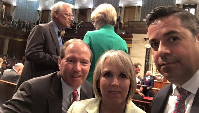 This photo posted to Rep. Ben Ray Lujan's Facebook page shows three Democratic members of New Mexico's Congressional delegation — from left, Sen. Tom Udall, Rep. Michelle Lujan Grisham and Lujan participating in a sit-in protest Wednesday, June 22, on the U.S. House floor