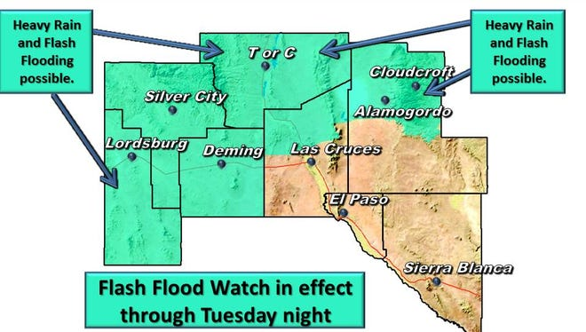 Flash Flood Watch issued for much of southern New Mexico on Tuesday, Aug. 2, 2016.