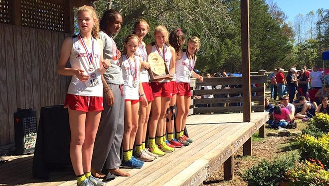 The Carolina Day girls won Friday's NCISAA 2-A cross country meet in Greensboro.