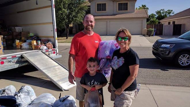 The Saxon family drove donated supplies to the Houston area to help the victims of Hurricane Harvey.