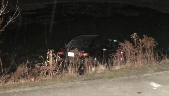 A car ended up in the lagoon along the Oak Creek Parkway, Jan. 12. There were no injuries.