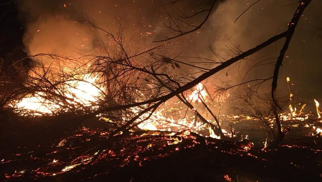 A brush fire was burning in Pinal County on Wednesday.
