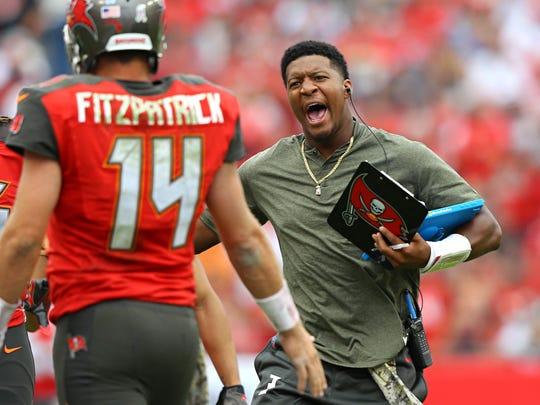 Tampa Bay Buccaneers quarterback Jameis Winston reacts
