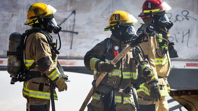 Phoenix firefighters battle a blaze on September 5, 2016.