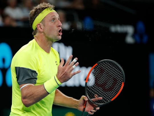 United States' Tennys Sandgren reacts during his fourth