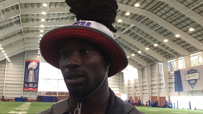 NY Giants cornerback Janoris Jenkins speaks to reporters at training camp for the first time since the death of his friend, Roosevelt Rene, at his Fair Lawn home back in June.