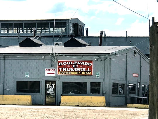 Boulevard and Trumbull towing in Detroit on Wednesday,