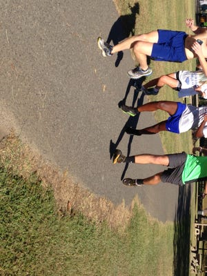 Members of Byrd's cross country team, (L to R) Carson Huckaby, Elizabeth Cole, Jocelyn Walker and Matthew Atchison practice this week.