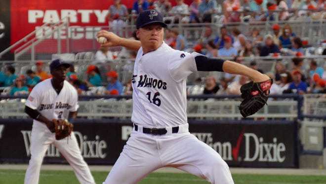 Daniel Wright was the opening pitcher for the Pensacola Blue Wahoos against the Mobile BayBears Thursday night in Pensacola.