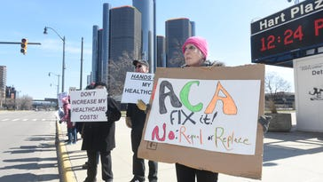 Faith Allen was among people rallying support for the Affordable Care Act Thursday in downtown Detroit. About 50 demonstrators sought to bring to bring attention to the possible end of former President Obama's signature but controversial health care legislation.