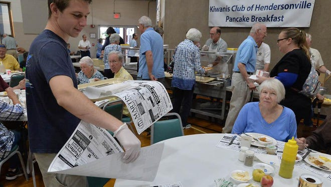 People enjoy the Kiwanis Pancake Breakfast at First Baptist Church of Hendersonville during the 73rd annual North Carolina Apple Festival in 2019.