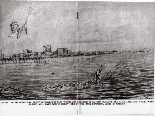 Gutzon Borglum vision of Corpus Christi Bayfront